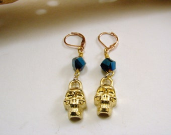 Crystal and Brass Skull Earrings, Skull Earrings, Dangle Earrings, Blue Crystal Earrings