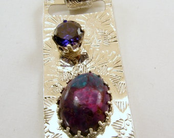 Sterling Silver, Amethyst, Mohjave Purple Turquoise Pendant Necklace