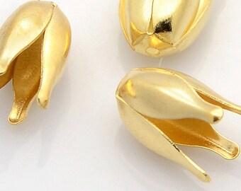 NEW Beautiful 4 Petal Flower Golden Iron Bead Caps (10) 13 MM x 7 MM  (IBCG201))