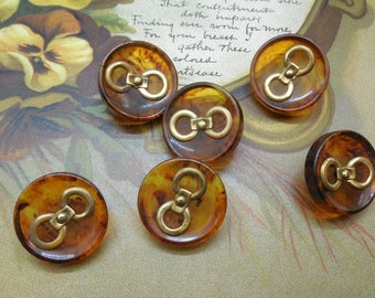 6 Rootbeer Bakelite Button Set w/ Metal Embellishments