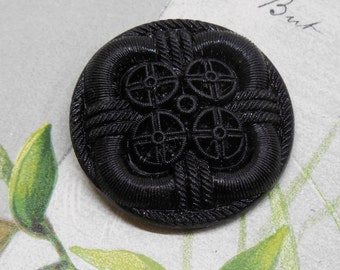 Large Fabric Design Black Glass Button