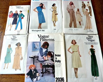 6 Vogue Patterns Bundle  Uncut Size 8 1970's Vintage