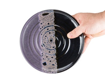 Wheel thrown stoneware pottery salad plate in Midnight Glaze- ridged style. Simple design, standard size. Sold individually