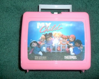 80s Pink My Child Lunchbox with Thermos Mattel 1986