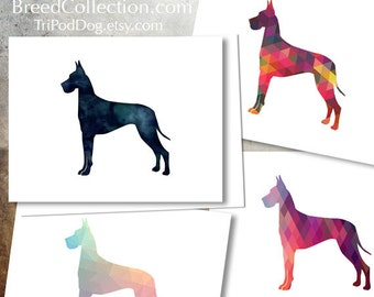 Great Dane - Dog  Silhouette Note Card Collection -  Digital Download Printable