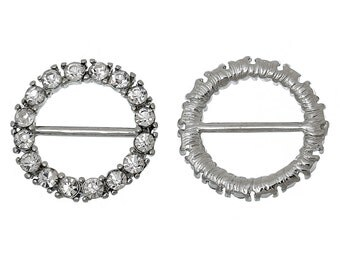"""2 pcs. Silver Tone Round Circle Hollow Bead Clear White Rhinestones- 22mm (0.87"""")- Great for belt buckles, hair accessories, bracelets, etc!"""