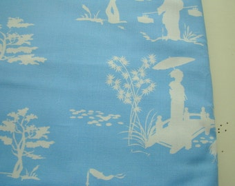 Asian Toile Fabric, Wooster and Prince Good Life Collection Organic Cotton Fabric, Half Yard, Robert Kaufman, OOP