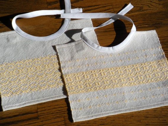 Handwoven Baby Bib Set, Baby Shower Gift, Yellow and White Bibs, Baby Bib Set, Hand Woven Bib Set, Toddler Bib Set, Bib Gift Set