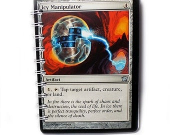 Icy Manipulator Upcyled Jumbo Magic the Gathering Card Notebook Deck Building Life Tracking Book