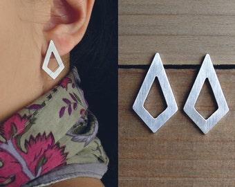 diamond shape earrings / geometric stud earrings / rhombus earrings / lightweight earrings / gift under 25 / holiday gift
