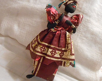 West Africa FOLK ART DOLL Carrying Wood & Baby, Rich Batik Dress Skirt Handmade Cloth Body, Gold Necklace Bracelets Rustic Senegal Stand