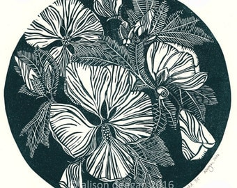 HIBISCUS IN EMERALD lino print flowers blooms wall art