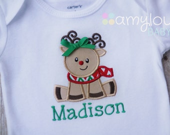 Baby Rudolph Reindeer with Bow Christmas Baby BODYSUIT - Personalized - Girl -  First Christmas