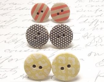 Mustard Yellow and Orange Wood Button Earrings. Vintage Mod Post Stud Earrings Set. Polka Dot Jewelry.