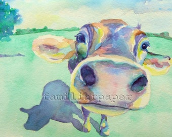 Curious Cow: Print of Original Watercolor Painting