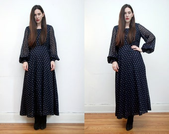 FREE SHIPPING Vintage Gold Abstract Metallic Gothic Navy Maxi Grunge Dress 70s