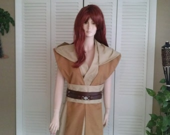 Star Wars Inspired Sleeveless Hooded Tunic with Matching Obi and Contrasting Tabards Size Small Handmade Costume
