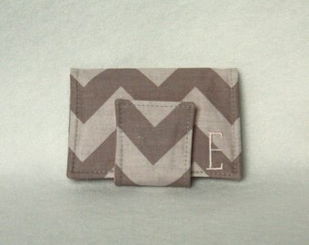 Monogram Card Holder- Chevron Wallet/Business Card Holder with Custom Embroidery