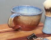 Shave Mug Wet Shaving Lathering Bowl Large Ridges Blue Iron Red