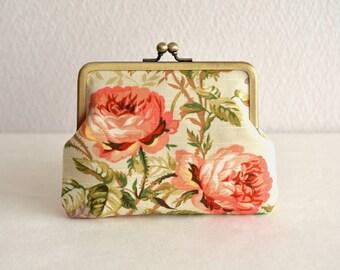 Elegant rose frame purse - beige - rustic, shabby chic, floral, clasp purse.