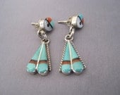 Vintage Sterling Turquoise Coral Jet MOP Sun Face Earrings