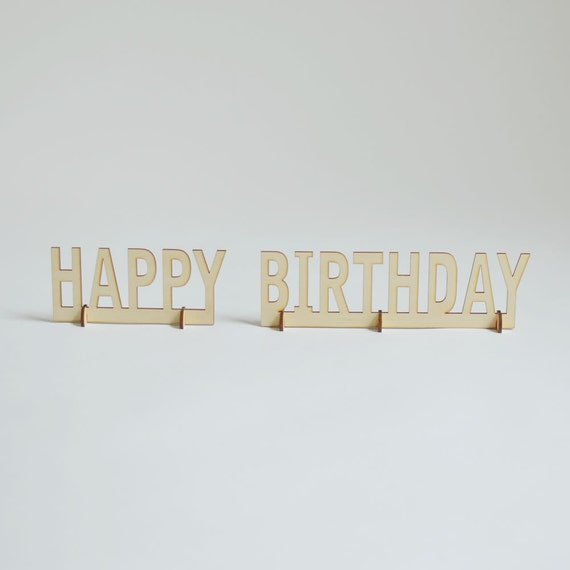 Birthday Sign Ups: Natural Wood Stand-Up Happy Birthday Table Sign
