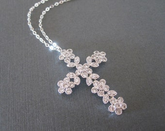 CZ Flower Decorated Silver Cross Necklace