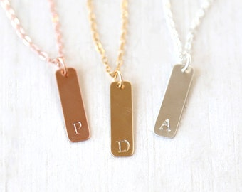Long Personalized Custom Stamped Initial Tag Bar  Necklace // 14K Gold Filled, Sterling Silver, Rose Gold Filled