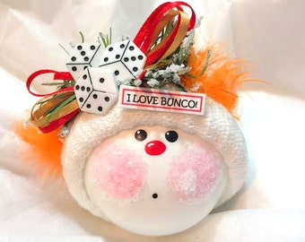 Bunco Christmas Ornaments Custom Hand Painted White Glass Handmade Personalized Themed by Townsend Custom Gifts Orange Feathers (M) - BR