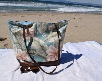 Beach Bag Tropical Flowers Tote