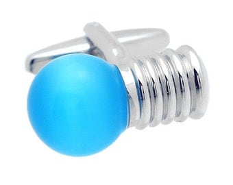 Blue Light Bulb Cufflinks