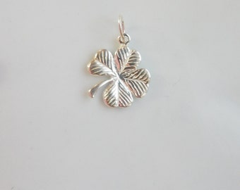 Sterling silver  4 leaves clover pendant , charm,(14x12mm)