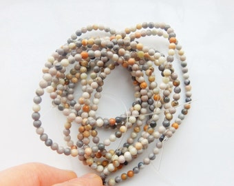 3mm  Silver Leaf jasper round beads  , full strand (16 inches) . gorgeous quality, Coffe, beige, gray , white, yellow