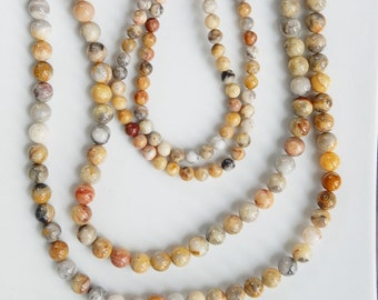"Crazy Lace agate  round beads, Full strand  (15.5"") 6mm, 8mm"