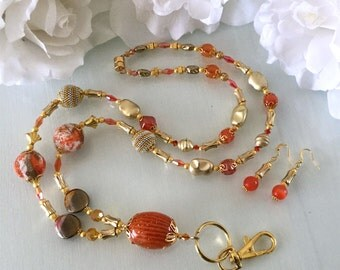 Orange and Gold Breakaway Beaded Lanyard