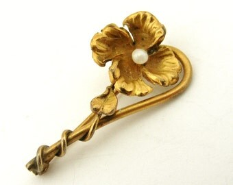 Antique French gold fill brooch flower with seed pearl