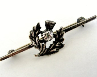 French vintage silver thistle brooch
