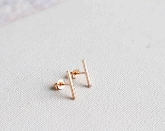 The 'Mini' Rose Gold Line Earrings, Mini Bar Stud Earrings, Rose Gold Bar Earrings, Small Bar Earrings, Tiny Line Earrings.