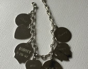 Vintage Charm Bracelet with Children's Names and Birthdays