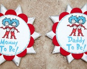 Dr Suess Theme Button Pin for Baby Shower or Birthday Party