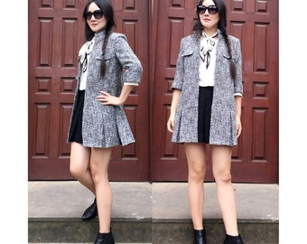 Women's Lovely Wool Coat Dress with 3/4 Sleeve /Elegant Long Jacket with Stand-up Collar/ RAMIES
