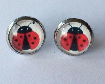 Ladybug Earrings -glass, stud, retro woodland, surgical stainless steel