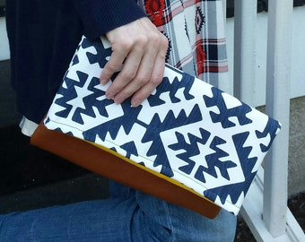 navy aztec clutch, bridesmaids clutch, fold over clutch, ready to ship, leather clutch, tribal clutch