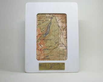 Sawtooth National Forest Redfish Lake Map Framed with Hand Stamped Date on Brass Vacation Hostess Gift