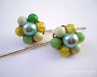 Vintage earrings hair clips - Yellow green blue cool color theme beaded bauble cluster fun girl unique embellish decorative hair accessories