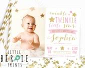 TWINKLE TWINKLE little STAR Invitation - Twinkle Star Birthday Party Invitation - Twinkle Star First Birthday Party Invitation Gold and Pink