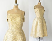 1950s Gold Lame Dress / 50s Strapless Cocktail Dress