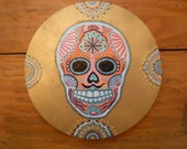 Sugar Skull with Mustach in Gold Key Rack