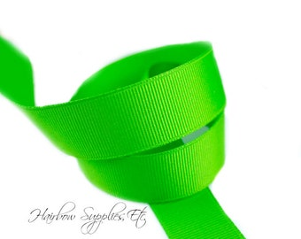 Apple Green 5/8 inch ribbon - Lime Green, Hair Bow Supplies, Lime Hair Bow, Lime Ribbon By The Yard, DIY Lime Bow, Hairbow Supplies, Etc.