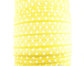 Yellow Polka Dot Fold Over Elastic - Fold Over Elastic, Hair Elastic Bracelet, Elastic, Hair Elastic Tie, Elastic Ribbon, Elastic Hair Band